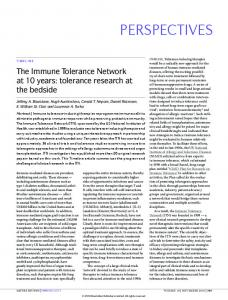 tolerance research at the bedside - Immune Tolerance Network