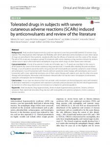 Tolerated drugs in subjects with severe cutaneous adverse reactions ...