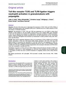 Toll-like receptor TLR2 and TLR9 ligation triggers neutrophil activation ...