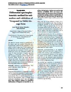 tometric method for esti- mation and validation of Verapamil in Tablet do