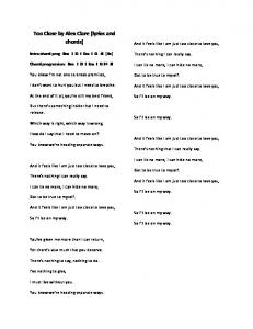 Too Close by Alex Clare (lyrics and chords)