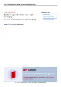 Toolbox Usage in the Malay Manuscript Cataloging