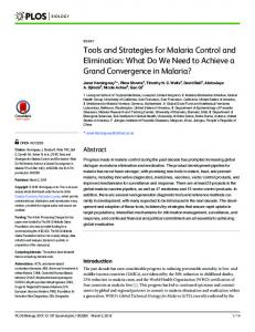 Tools and Strategies for Malaria Control and