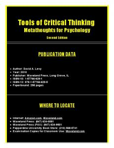 Tools of Critical Thinking - Pepperdine University