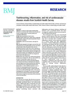 Toothbrushing, inflammation, and risk of cardiovascular disease