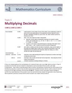 Topic E: Multiplying Decimals - The Syracuse City School District