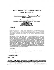 TOPIC MODELING: CLUSTERING OF DEEP WEBPAGES