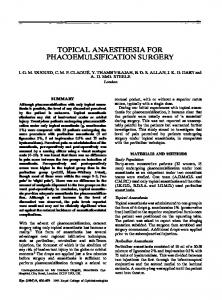 topical anaesthesia for phacoemulsification surgery - Semantic Scholar