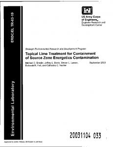 Topical Lime Treatment for Containment of Source Zone Energetics