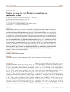Topical propranolol for infantile haemangiomas - Wiley Online Library