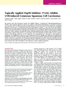 Topically Applied Hsp90 Inhibitor 17AAG Inhibits UVR