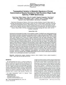 Topographical Variation in Metabolic Signatures of Human ...