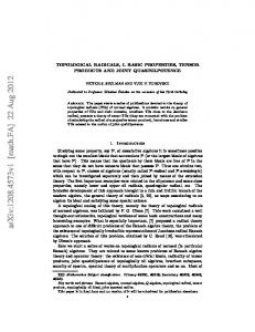 Topological radicals, I. Basic properties, tensor products and joint