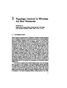 Topology Control in Wireless Ad Hoc Networks - Computer Science