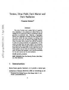 Torsion, Dirac Field, Dark Matter and Dark Radiation