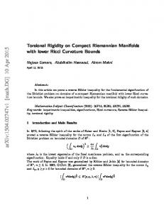 Torsional Rigidity on Compact Riemannian Manifolds with lower Ricci ...