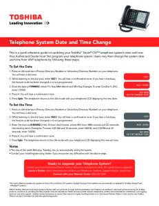 Toshiba: Telephone System Date and Time Change