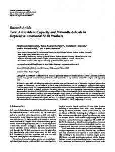Total Antioxidant Capacity and Malondialdehyde in Depressive ...