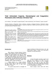 Total Antioxidant Capacity, Hematological and Coagulation ...