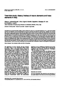 Total-diet study: dietary intakes of macro elements ...