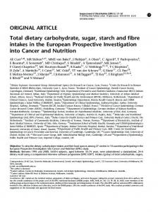 Total dietary carbohydrate, sugar, starch and fibre intakes in ... - Nature