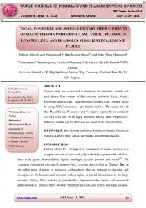 total, insoluble and soluble dietary fiber contents of ... - wjpps