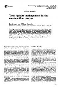 Total quality management in the construction process