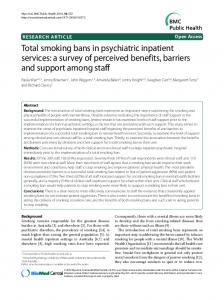 Total smoking bans in psychiatric inpatient services: a ... - BioMedSearch