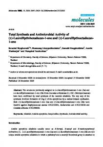 Total Synthesis and Antimicrobial Activity of - MDPI