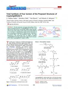 Total Synthesis of Four Isomers of the Proposed ... - ACS Publications