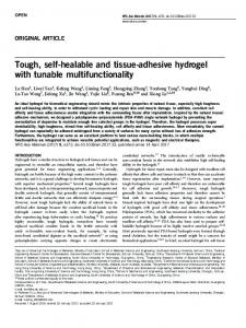 Tough, self-healable and tissue-adhesive hydrogel ...