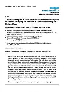 Tourists' Perception of Haze Pollution and the Potential ... - MDPI
