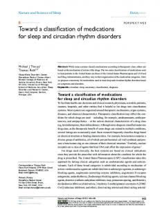 Toward a classification of medications for sleep and ... - CiteSeerX