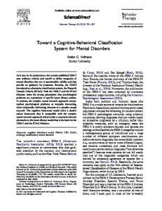 Toward a Cognitive-Behavioral Classification System for Mental ...