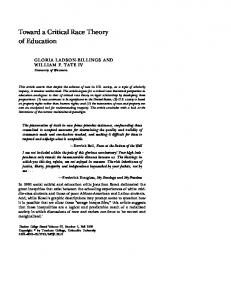 Toward a Critical Race Theory of Education - College of Human