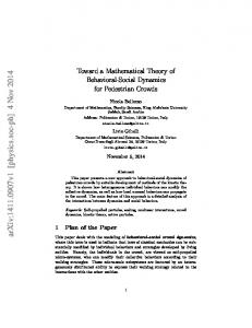 Toward a Mathematical Theory of Behavioral-Social Dynamics for ...