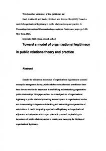Toward a model of organizational legitimacy in public ... - QUT ePrints