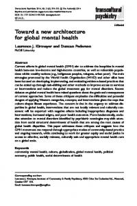 Toward a new architecture for global mental health