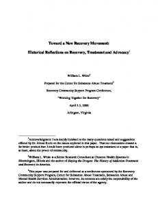 Toward a New Recovery Movement - Behavioral Health Recovery ...