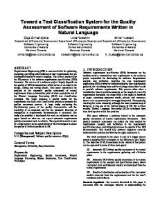 Toward a Text Classification System for the Quality ... - CiteSeerX