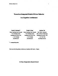 Toward an Integrated Model of Driver Behavior in ... - Computer Science