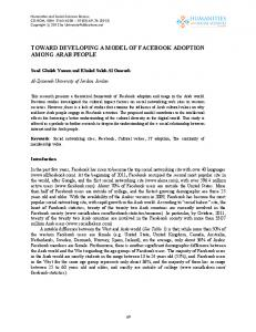 toward developing a model of facebook adoption among arab people