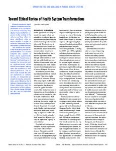 Toward Ethical Review of Health System Transformations