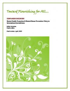 Toward Flourishing For All: Mental Health Promotion and Mental ...