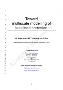 Toward multiscale modelling of localised corrosion
