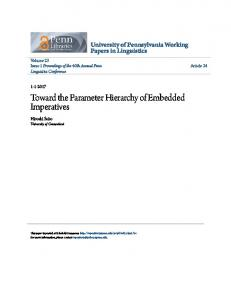 Toward the Parameter Hierarchy of Embedded ... - ScholarlyCommons