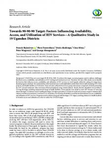 Towards 90-90-90 Target: Factors Influencing Availability, Access, and ...
