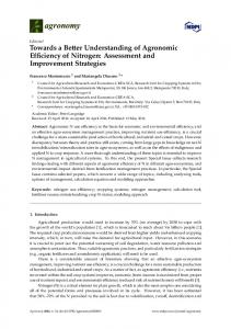 Towards a Better Understanding of Agronomic Efficiency of ... - MDPI
