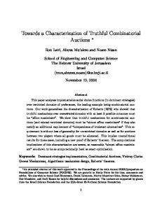 Towards a Characterization of Truthful Combinatorial Auctions ∗