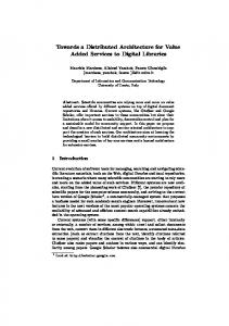 Towards a Distributed Architecture for Value ... - Semantic Scholar